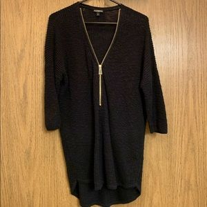 Express Tunic Sweater, Black with Gold Zipper, M